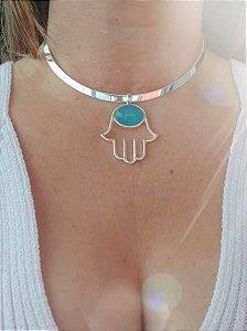⭐Choker folheado a prata com Pingente MÃO DE HAMSA + pedra ágata azul.