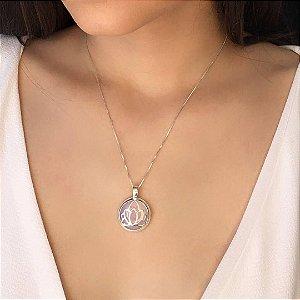 Colar Prata 925 + Pingente Flor de Lótus com Opalina (Pedra da Lua), Corrente 45cm não possui extensor