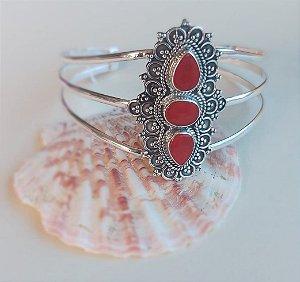 ❤️ Paixão : Bracelete Bali confeccionado em Prata 925 com pedra Coral vermelha.
