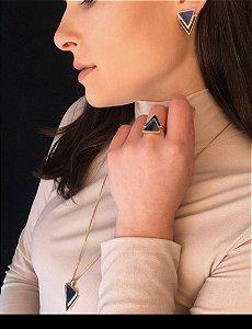 Conjunto colar e brinco folheados a Ouro com pedra Sodalita corrente veneziana com 60cm+07cm