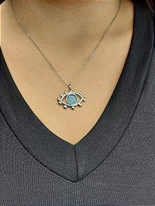 🧿 Colar 𝑶𝒍𝒉𝒐 𝑮𝒓𝒆𝒈𝒐  folheado a Ródio com pingente de Olho Grego e pedra Ágata Azul .