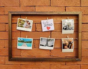 Quadro de fotos varal 35x45cm + 8 pregadores