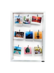 Quadro de fotos varal 45x30cm + 9 Fotos Polaroids + 9 Pregadores