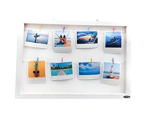 Quadro de fotos varal 35x45cm + 8 Fotos Polaroids + Brinde