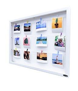 Quadro de fotos varal 40x55cm + 12 Fotos Polaroids + 12 Pregadores