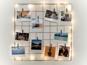 Memory Board ROSE GOLD 40x40cm +10 Fotos  +10 pregadores +LED