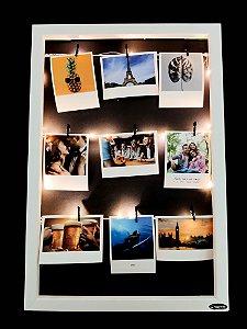 Quadro de fotos varal 45x35cm + 9 Fotos Polaroids + LED
