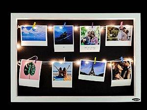 Quadro de fotos varal 35x45cm + 8 Fotos Polaroids + LED
