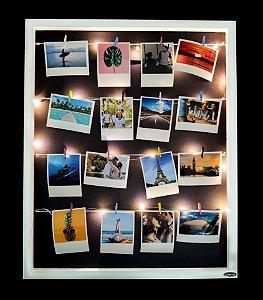 KIT RUBI (Fio Fada Led + Quadro varal Polaroid 55 x 45 Vertical + 12 fotos + 12 pregadores)