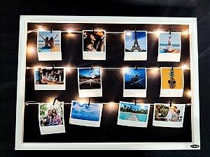 Quadro de fotos varal 40x55cm + 12 Fotos Polaroids + LED