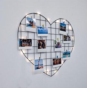 Memory Board Coração 55x52cm + 10 Fotos Polaroids + LED