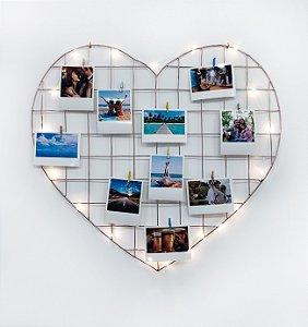 Memory board Coração ROSE GOLD 55x52cm + 10 Fotos + LED