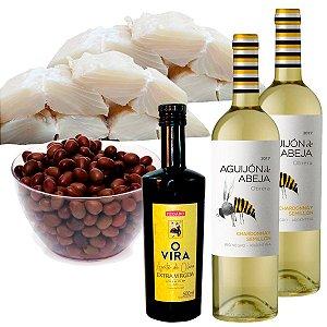 Kit Páscoa 4: 2kg Lombo de Bacalhau + Azeite + Vinho + Azeitona