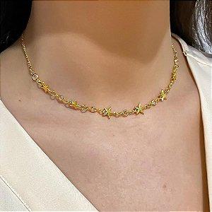 Colar/Choker Dourado com Estrelas e Strass Mayara