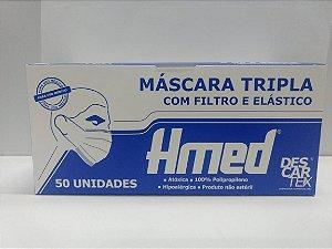 Máscara Descartável Tripla Camada com Filtro e Elástico - Descartex