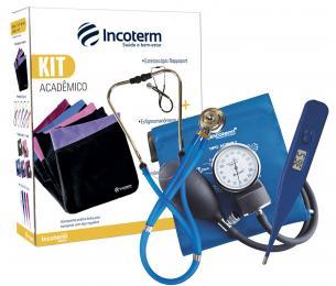 Kit Acadêmico KA100 Azul Esteto + Tensiômetro + Termômetro + Bolsa - Incoterm