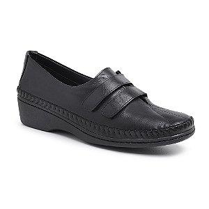 Sapato Feminino De Couro Legitimo Comfort - Ref. 1201 Preta