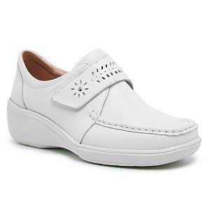 Sapato Feminino De Couro Legítimo Linha Comfort - Jasmim Branco