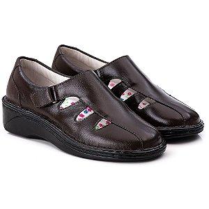 Sapato Feminino De Couro Legitimo Comfort - Ref. F230 Café