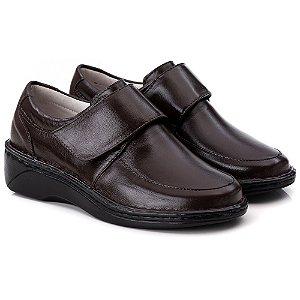 Sapato Feminino De Couro Legitimo Comfort - Ref. F220 Café