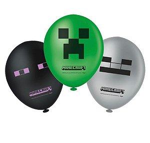 Balão Bexiga Minecraft - Regina Festas - 25 unid