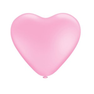 Balão Bexiga Coração Liso Rosa N10 - 25 Uni