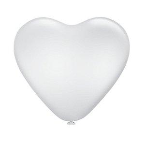 Balão Bexiga Coração Liso Branco N10 - 25 Uni