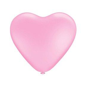 Balão Bexiga Coração Liso Rosa Baby N6 - 50 Uni