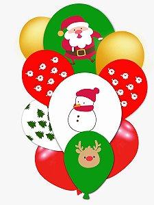 Balão Bexiga Natal - Natalino - 10 unid