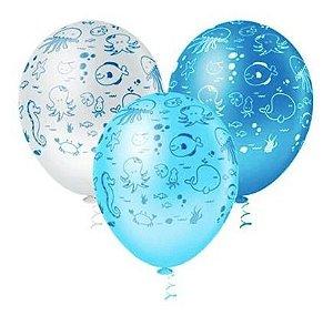 Balão Bexiga Fundo Do Mar - 25 Unid - Pic Pic