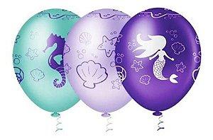 Balão Bexiga Sereia Encantada - 25 Unid