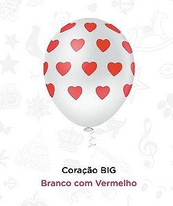 Balão Bexiga Coração Branco E Vermelho N10 - Pic Pic