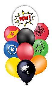 Balão Bexiga Festa Super Heróis Vingadores - 10 Unid