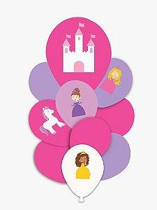 Balão Bexiga Festa Princesas - 10 Unid