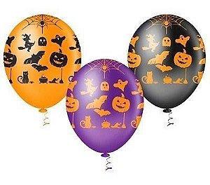 Balão Bexiga Abóbora Halloween - Dia Das Bruxas - 25 Unid.