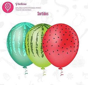 Balão Bexiga Melancia - Sortido - 25 Unid