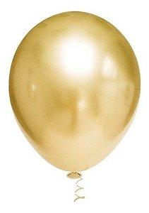 Balão Bexiga Metalizado Platino Ouro 5 - 25uni