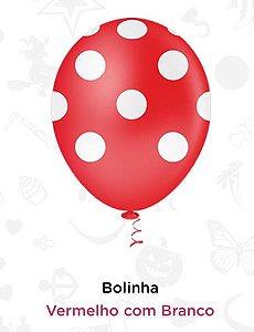 Balão Bexiga Bolinhas Vermelhas - 25 Unid - Pic Pic