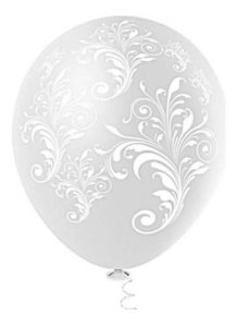 Balão Bexiga Arabesco Branco Clear 10 - 25uni