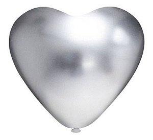 Balão Bexiga Coração Platino Prata 10 - 25 Uni