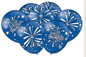 Balão Bexiga Feliz Aniversário Azul Escuro - 25uni