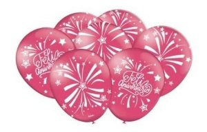 Balão Bexiga Feliz Aniversário Rosa Escuro - 25uni