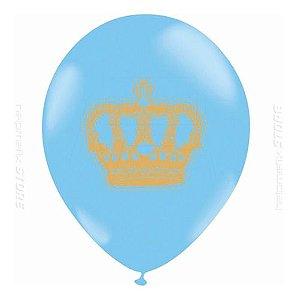Balão Bexiga Coroa Azul Com Dourado - 25 Uni