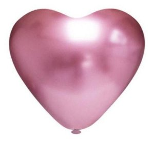Balão Bexiga Coração Platino Rosa 10 - 25 Uni