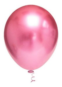 Balão Bexiga Metalizado Platino Rosa 10 - 25 Unid