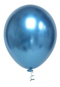 Balão Bexiga Metalizado Platino Azul 5 - 25uni