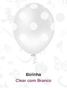 Balão Bexiga Bolinhas Branco - 25 Unid - Pic Pic