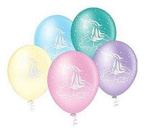 Balão Bexiga Unicórnio Colorido - 25 Unid