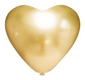 Balão Bexiga Coração Platino Ouro 10 - 25 Uni