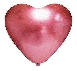 Balão Bexiga Coração Platino Vermelho 10 - 25 Uni